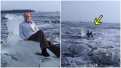 護駕啊!霸氣嬤「坐流冰岸邊拍照」 大浪打來..人冰一起出海了
