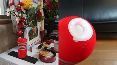 奶奶靈堂前驚見「鮮花供奉在飛機杯」 他哀號:爺啊那不是花瓶..
