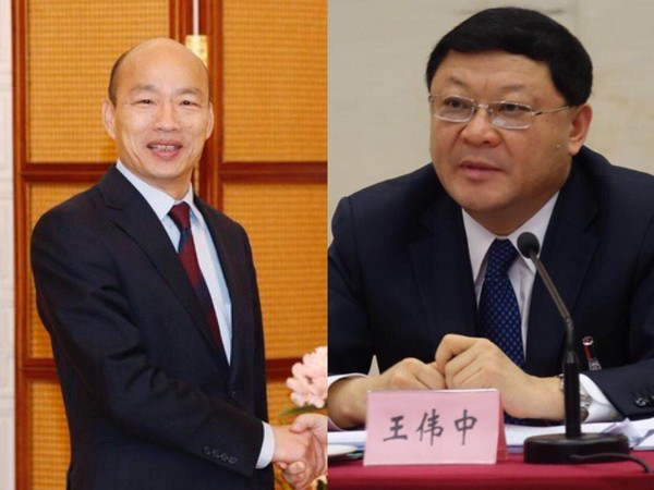 ▲高雄市長韓國瑜今抵深圳,會見市委書記王偉中。(合成圖)