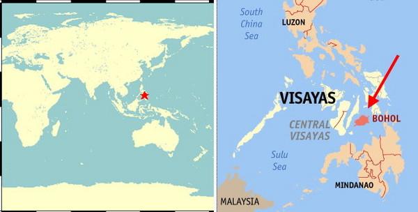 菲律宾保和岛发生7.1地震.(图/取自中央气象局,维基百科合成)