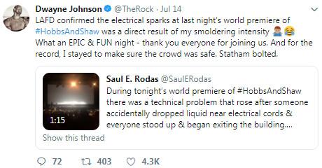 《玩命關頭》外傳首映出意外! 「插座起火」傑森史塔森逃走
