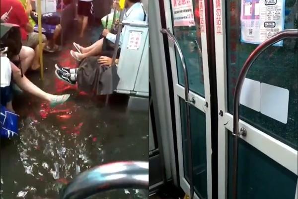 ▲▼高雄市小港區公車淹水。(圖/Facebook/貓與邪佞的手指)