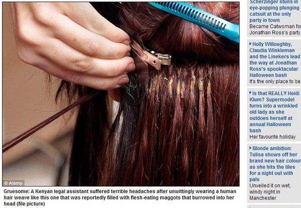接到死人头发? 肯亚女子满头蛆虫引头痛图片