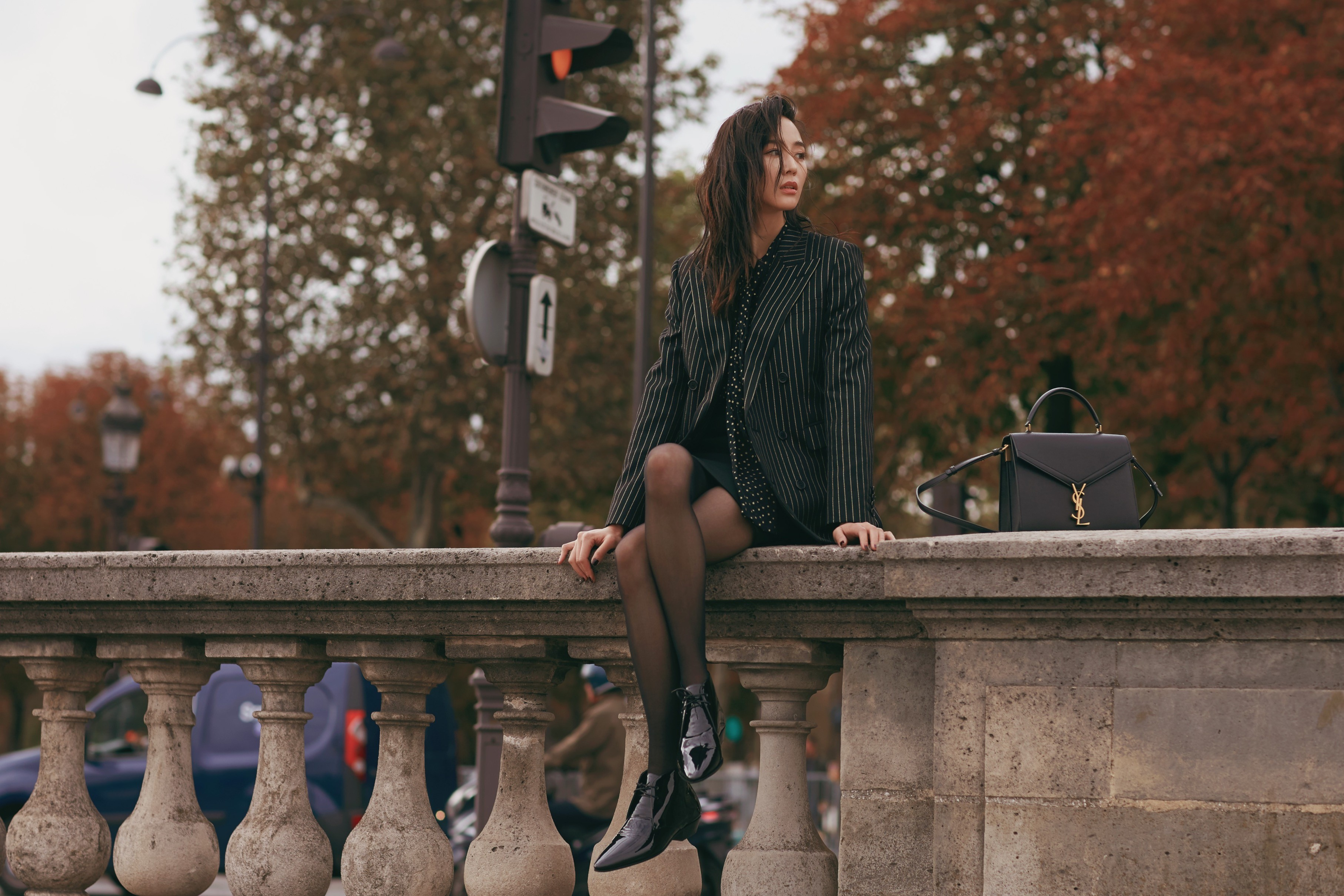巴黎时装周/张钧甯SAINT LAURENT街拍