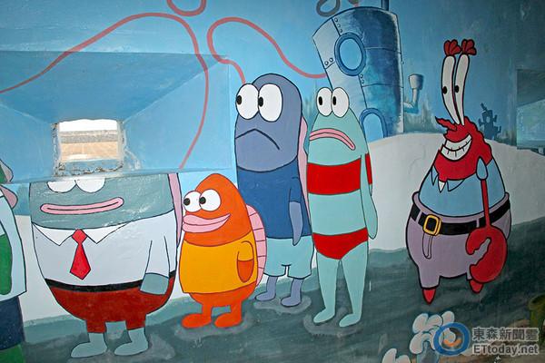 也就是海绵宝宝的家乡,作为墙面的彩绘主题,一抹大家对战地据点常见的