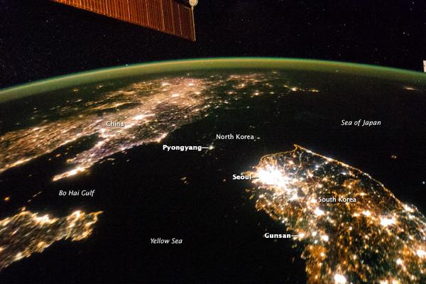 nasa:朝鲜半岛夜景 北韩消失了! | 最新新闻 | 2017年