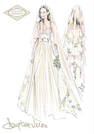 裘莉婚纱手绘设计稿.(图/品牌提供)