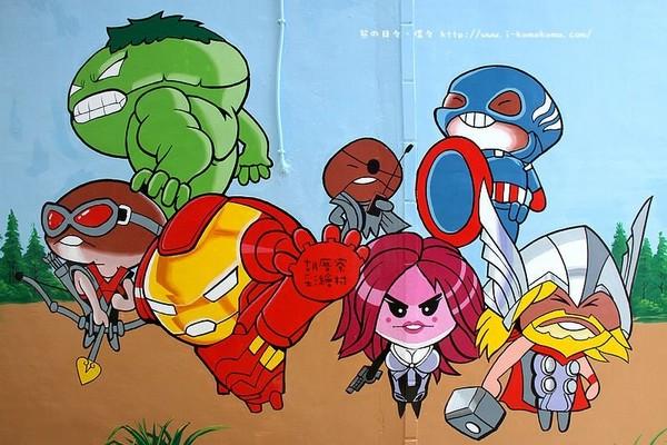 以复仇者联盟电影海报而绘的q版人物,真的很可爱,神盾局局长和鹰眼