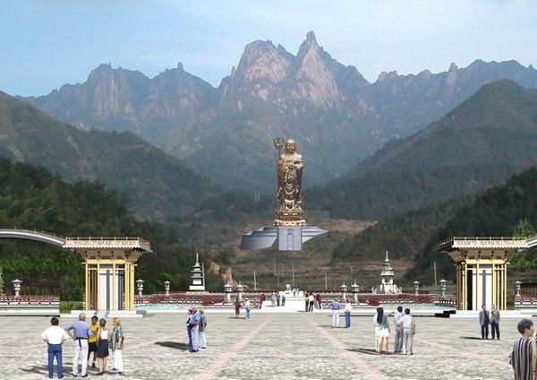 ▼九华山风景区「大愿文化园」99公尺高地藏铜像.