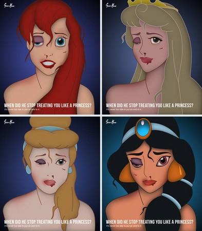▼圣华克斯将茉莉公主,小美人鱼等公主画得鼻青脸肿,呼吁被家暴女子站