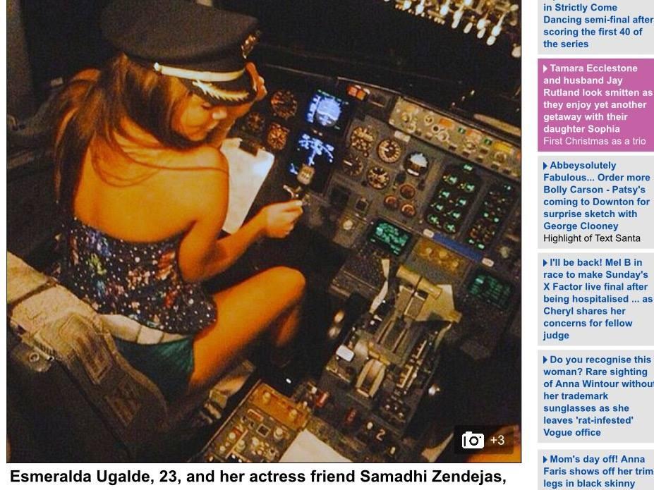 女藝人坐進駕駛艙拍照,惹眾怒。(圖/翻拍自《每日郵報》) 國際中心/綜合報導 墨西哥Magnicharters航空一名機長日前執行勤務時,竟讓兩位年輕女藝人坐在駕駛艙內「假裝開飛機」,還po上推特(Twitter)炫耀,引起極大爭議,不少人怒罵機長拿乘客生命開玩笑。目前照片已被刪除,機長也被航空公司炒魷魚。 國外各家媒體紛紛報導此事,墨西哥女歌手23歲烏嘉爾德(Esmeralda Ugalde)及她19歲演員友人森德嘉斯(Samadhi Zendejas),在搭乘班機時,進入駕駛艙內遊玩,不但帶著機長帽