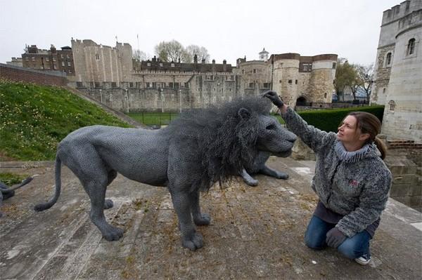 动物们都「硬」起来了 超逼真的铁丝立体雕塑