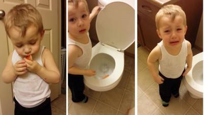 金魚夥伴過世,小男孩紅眼把牠沖馬桶