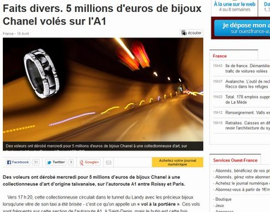 台女收藏家法國隧道遭破窗搶劫 1.65億香奈兒珠寶失蹤