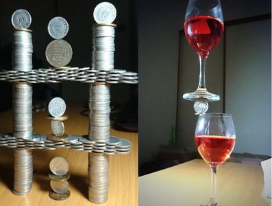 錢塔堆高沒創意,他把紅酒杯疊上硬幣