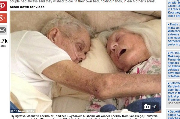 「在我懷裡離去是你心願」 美夫妻結婚75年臨終仍牽手