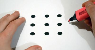 一筆到底,如何用4條直線讓9點連線?