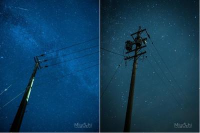 被星空照亮路面的日本小鎮,路燈反成多餘