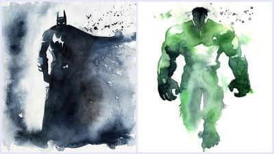 超級英雄水彩畫,怎麼像反派邪邪der