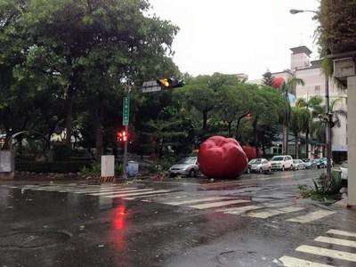 台中市區驚見「巨大蘋果」滾啊滾