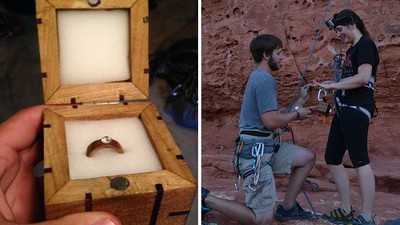 攀岩發現小木盒,原來是男友手工製的求婚戒❤