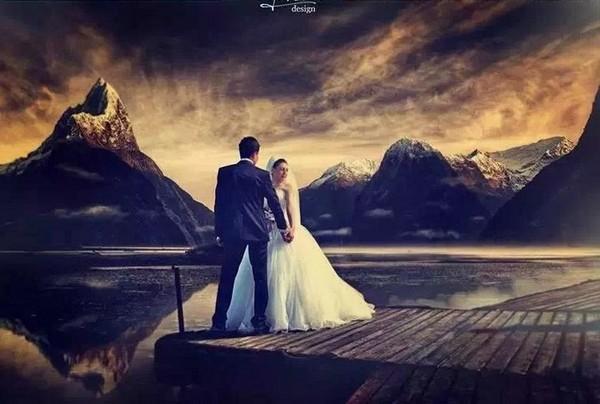 新人沒錢出國取景,攝影師P圖升級豪華婚紗照