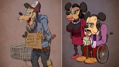 卡通人物也被時間摧殘,高飛怎變遊民了(哭)