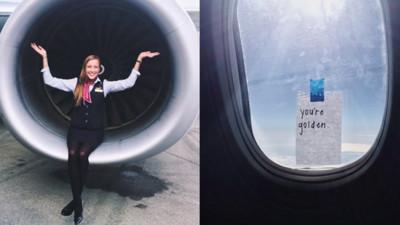 空姐在窗上貼溫馨紙條,讓乘客帶著正能量起飛
