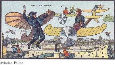 百年前畫家預言今日科技:警察就是要會飛啊