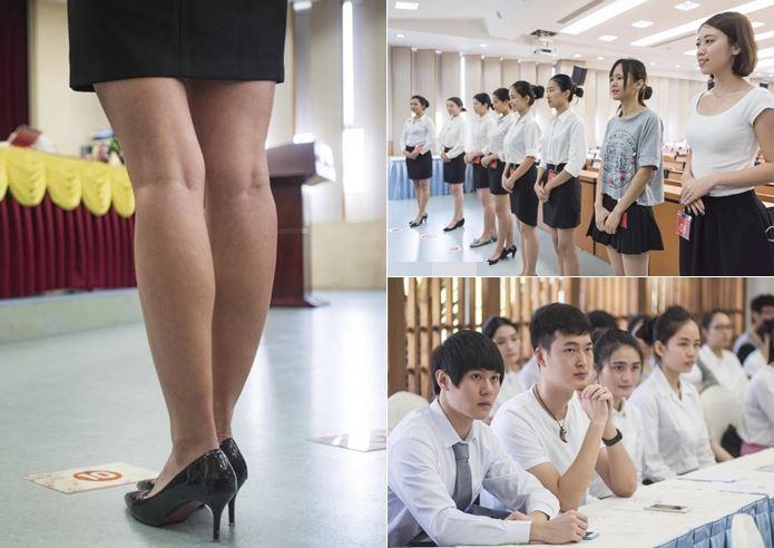 海航集團在廣東外語外貿大學南國商學院內舉行校園招聘活動,要求素顏、「素腿」面試。(圖/翻攝自大陸網站)