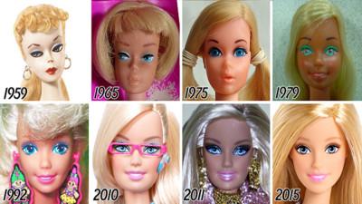 芭比56年美臉進化史,1980被安娜貝爾附身嗎..