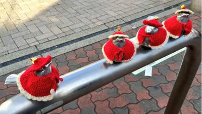 日本車站前麻雀變裝秀,套上毛衣暖暖好過冬