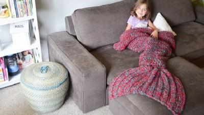 暖呼呼美人魚尾毛毯,讓姐冬天不再腳底發寒