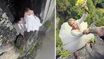 峭壁玩命拍婚紗,站的地方只有一點點捏Σ(°Д°