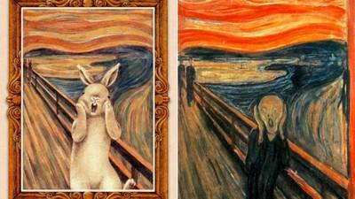 兔兔跳進名畫裡,為藝術作品增添萌萌親切感