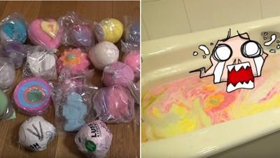 一次下水20顆泡泡浴球..那顏色感覺會迸出飛天小女警!