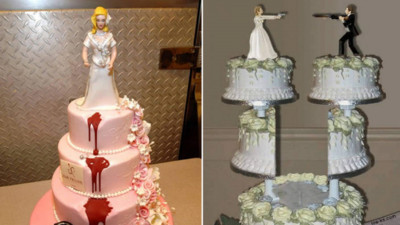 怨偶們端出「離婚蛋糕」希望這紅液體真的是果醬啊..