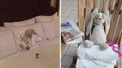 「兔娃娃」被小主人忘在飯店,乾脆..爽爽度假吧XD