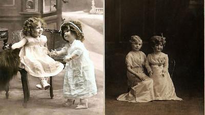 毛骨悚然黑白照 那女孩旁的娃娃剛是否眨了眼?