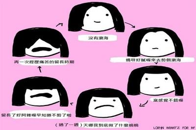「人生就是不停反悔」插畫 到底該不該剪劉海啊QQ