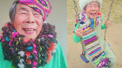日本93歲潮嬤 是孫女手織花花衣裳的最佳代言人