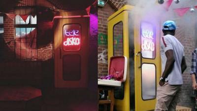 全世界最小「電話亭夜店」,一男一女擠包廂剛好
