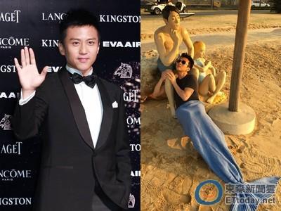 鄧超化身沙灘美人魚 曬日光浴抱男人大腿不放!