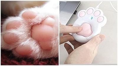 超真實觸感的「貓肉球滑鼠」,無法專心上班了啦><