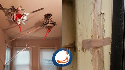 超扯蛋的摳門房東,天花板漏水用膠帶黏對嗎