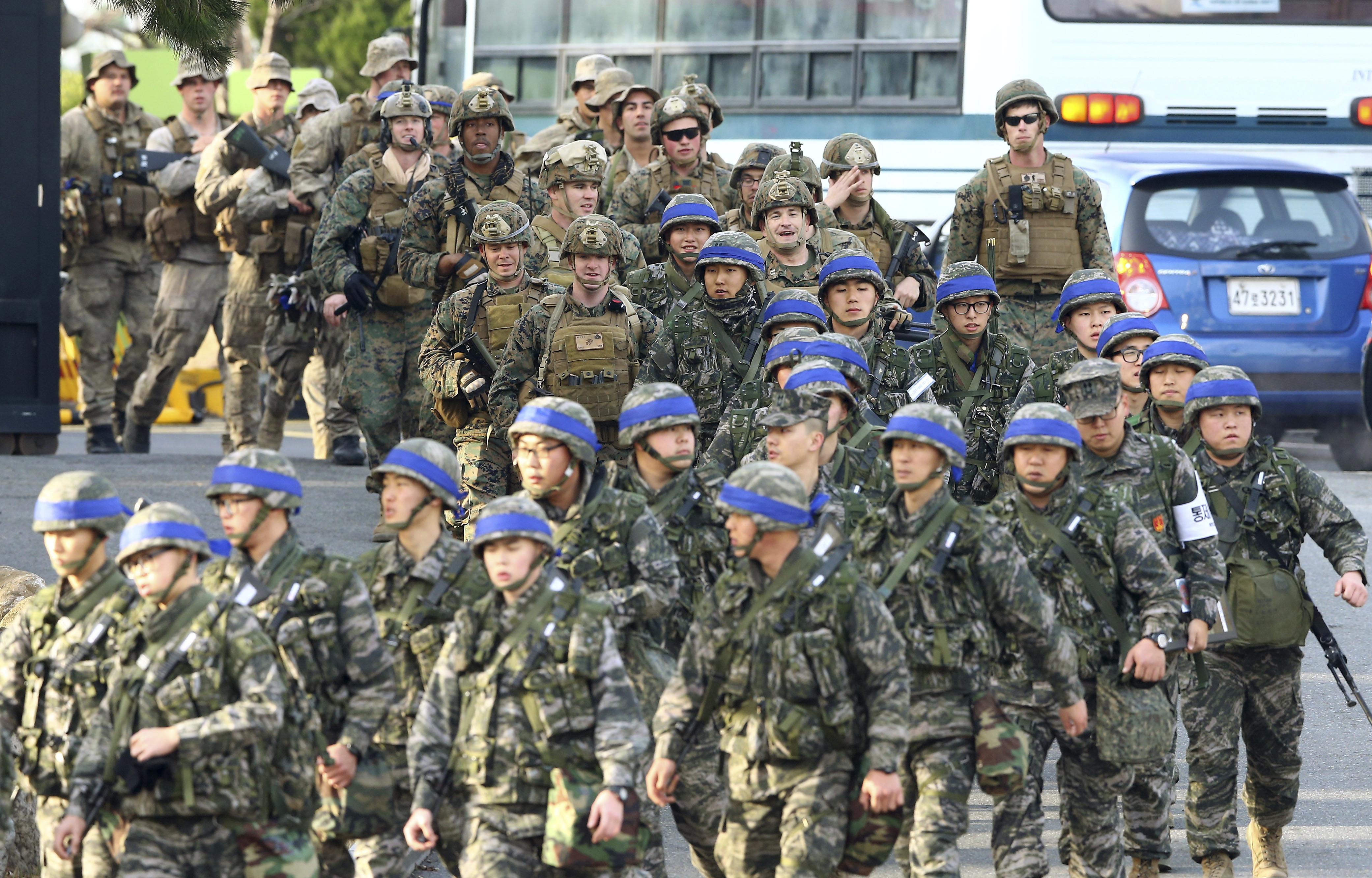 美韓聯合軍演,有多達30萬名南韓軍及1萬7000名美軍參與。(圖/達志影像/美聯社)