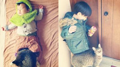 《小孩+毛孩成長記錄》體型大了,但愛睡跨下習慣沒變