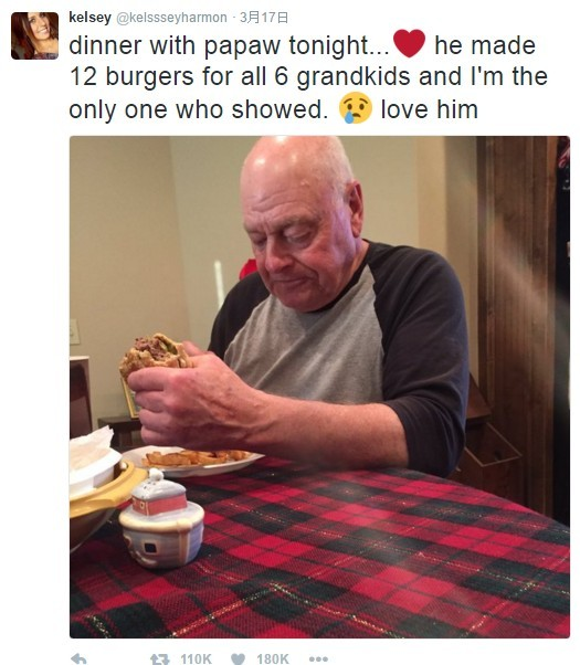 爺爺做了12個漢堡...僅1人回來吃 結局惹哭上萬網友!