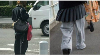 制服裙配運動褲?拜託有點身為女孩的自覺啊(搖肩)