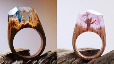 在指間裝進宇宙,樹脂木戒指讓你帶一片森林走!
